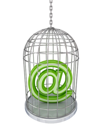 Email sign in a birdcage.Isolated on white background. Stock Photo - 12174903