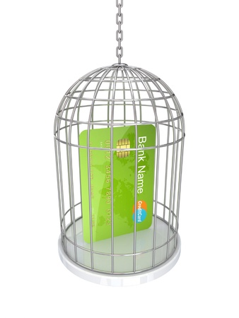 Green credit card in a vintage cage.Isolated on white background.3d rendered. photo