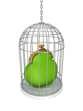 Green purse in a vintage cage.Isolated on white background.3d rendered. Stock Photo - 12218680