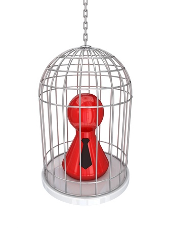 3d small person in a vintage cage.Isolated on white background. Stock Photo - 12218644