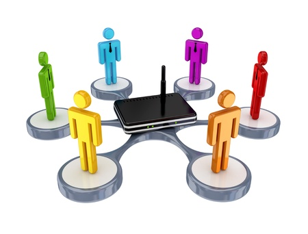 wlan: Colorful 3d small people around router. Isolated on white background.