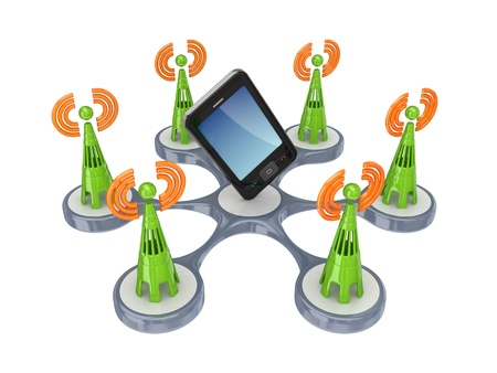 Cell towers around modern  mobole phone.Isolated on white background.3d rendered. photo
