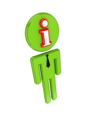 3d small person with Info sign on a face.Isolated on white background. photo
