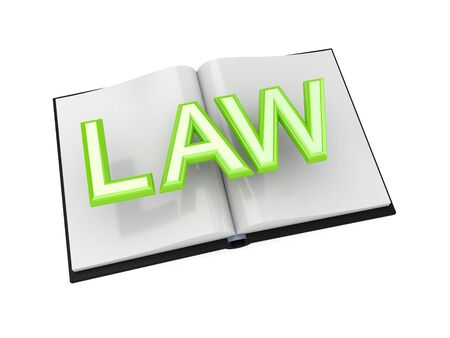 Book of Law concept.3d rendered.Isolated on white background. photo