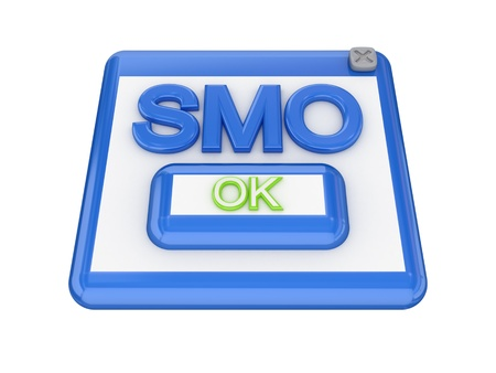 smo: SMO button. Isolated on white background. 3d rendered. Stock Photo