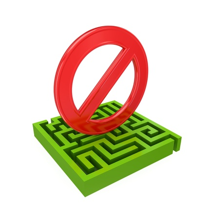 Green labyrinth and red Stop sign.3d rendered.Isolated on white background. photo