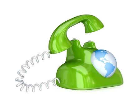 Surrealistic retro telephone. 3d rendered.Isolated on white background. photo