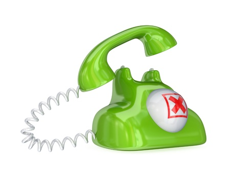 Green vintage telephone with red cross mark.Isolated on white background.3d rendered. photo