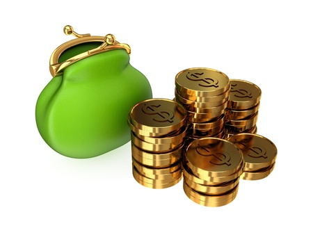 Green purse and golden coins. Isolated on white background. 3d rendered. Stock Photo - 12218292