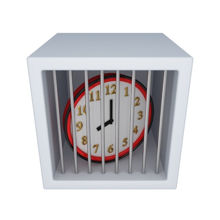 Red watch in a jail.Isolated on white background.3d rendered. photo