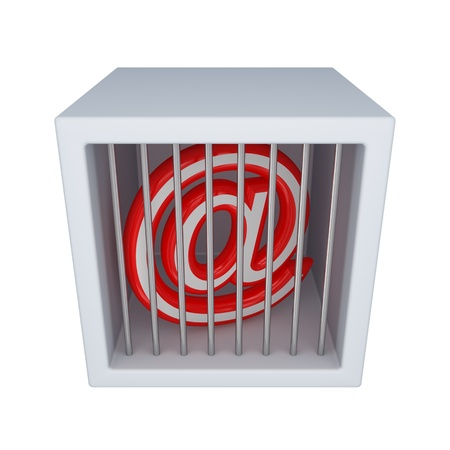 Email sign in a jail.Isolated on white background.3d rendered. photo