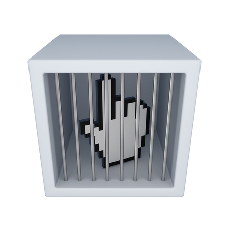 Cursor in a jail. Isolated on white background. 3d rendered. Stock Photo - 12171086