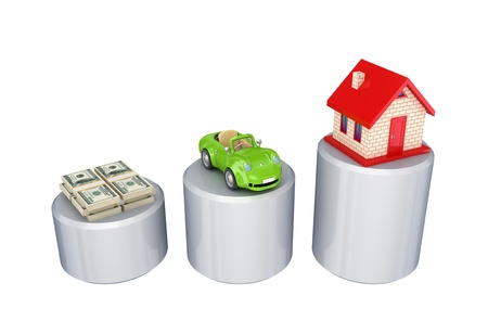 money packs: Graphic, dollar packs, green car and small house.Isolated on white background.3d rendered.