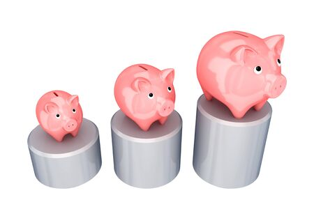 Graphic and three pink piggy banks.Isolated on white background. photo
