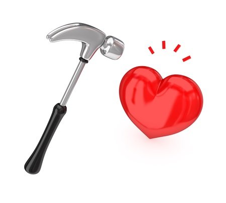 cardia: Big chromed hammer hitting a red heart.Isolated on white background.3d rendered. Stock Photo