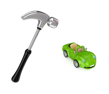 Chromed hammer and small green car.Isolated on white background.3d rendered. photo