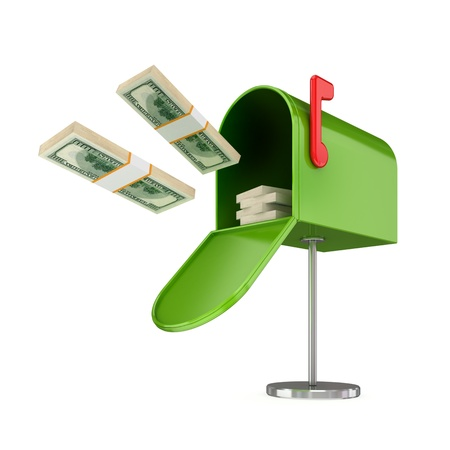 Opened green postbox and flying dollars packs.Isolated on white background.3d rendered. photo