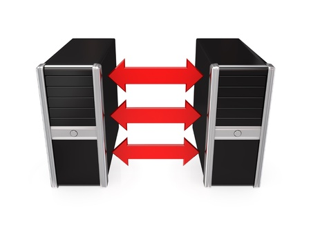 Black computers merged with a red arrows.Isolated on white background.3d rendered. photo