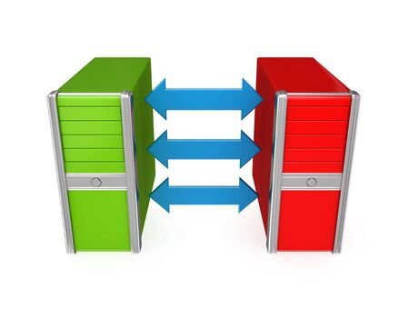 merged: Colorful computers merged with a blue arrows.Isolated on white background.3d rendered.