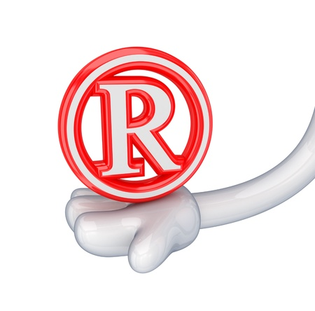 Red copyright symbol in a cartoon hand.Isolated on white background. 3d rendered. photo