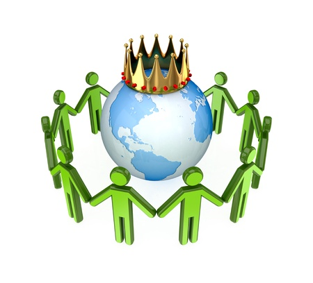 3d small people standing around the globe with a golden crown.Isolated on white background. Stock Photo - 12217941