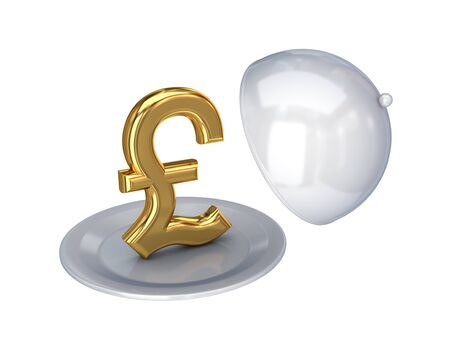 Golden pound sterling sign on a dish.Isolated on white background.3d rendered. photo