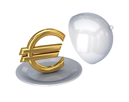 Golden euro sign on a dish.Isolated on white background.3d rendered. photo
