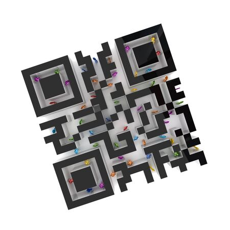 Labyrinth shape of QR code with colorful 3d small people inside.Isolated on white background. photo