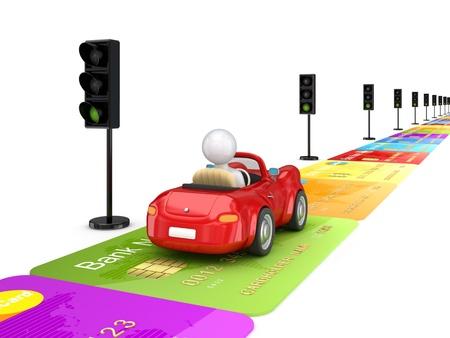 hombre manejando: Coche rojo conducir por una carretera de cr�dito del cards.Isolated en blanco background.3d prestados. Foto de archivo