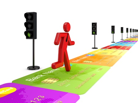 3d small person running on a road made of credit card.Isolated on white background. photo