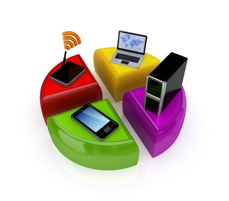 Colorful graph and computer devices.Isolated on white background.3d rendered. photo