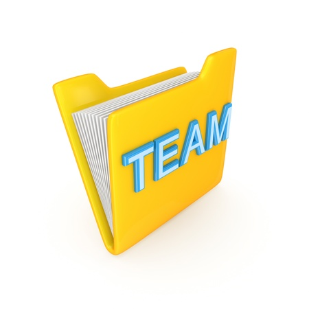 Yellow PC folder with a blue inscription TEAM.Isolated on white background.3d rendered. photo