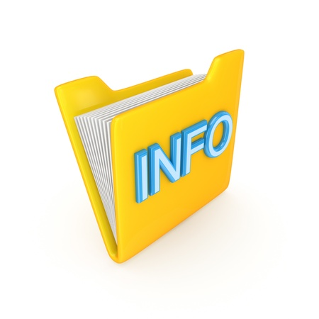 requesting: Yellow PC folder with a blue inscription INFO.Isolated on white background.3d rendered.