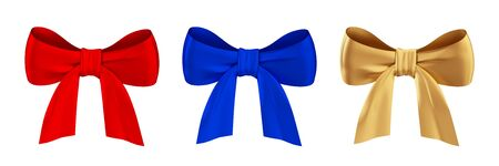 Coloured bows set. Isolated on white background. 3d rendered. photo