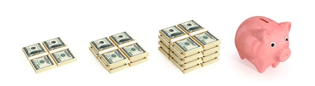 money making: Small, medium, large dollar packs and handcuff. Isolated on white background. 3d rendered.