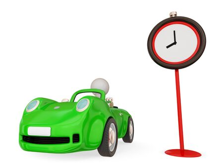 Green car with small person inside and red timer. Isolated on white background. 3d rendered. photo