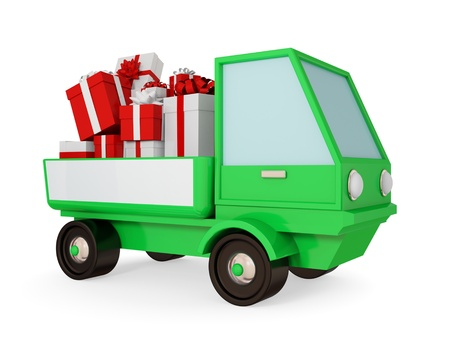 Green truck with bright gift boxes at a body.  3d rendered. Isolated on white. photo