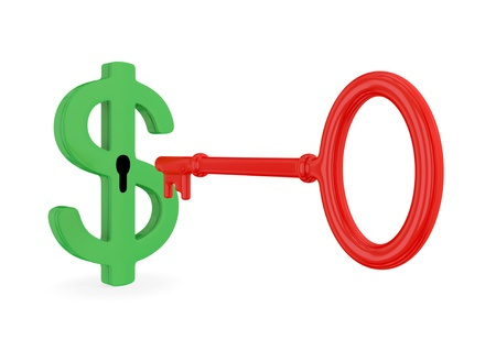 Green dollar sign with keyhole and red antique key. Isolated on white background. 3d rendered. photo