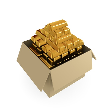 goldbars: Goldbars in a cardboard box. 3d rendered. Isolated on white background.
