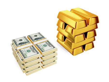 Big dollars pack and gold bars.Isolated on white. 3d rendered. photo