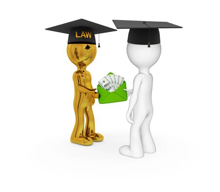 subornation: 3d small people. Lawyers and money pack. Isolated on white background.