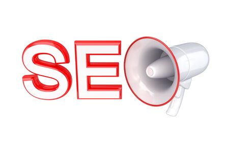 Word SEO and megaphone. 3d rendered. Isolated on white background. Stock Photo - 12223293