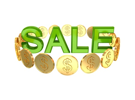 Word SALE and golden coins around. 3d rendered. Isolated on white background. Stock Photo - 12175996