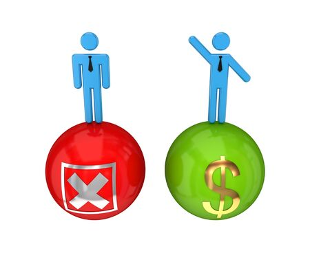 3d small people on a glossy bolls with a cross mark and dollar sign. 3D rendered. Isolated on white background. photo