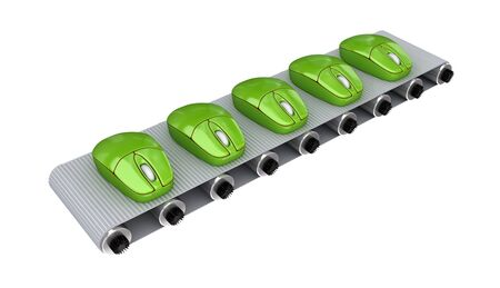 Green PC mouses on conveyor. 3d rendered. Isolated on white background. Stock Photo - 12219592