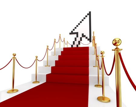 red  pointer: Red carpet on a stairs and large cursor. 3d rendered. Isolated on white background. Stock Photo