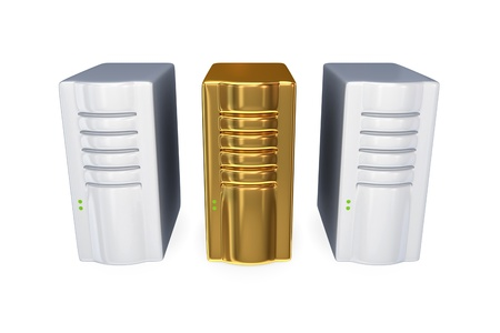 pcs: Two usual server PCs and golden one. 3D rendered. Isolated on white background.