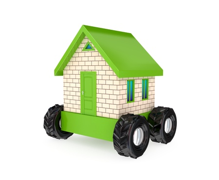 Small house on a big black wheels. 3D rendered. Isolated on white background. Stock Photo - 12219563