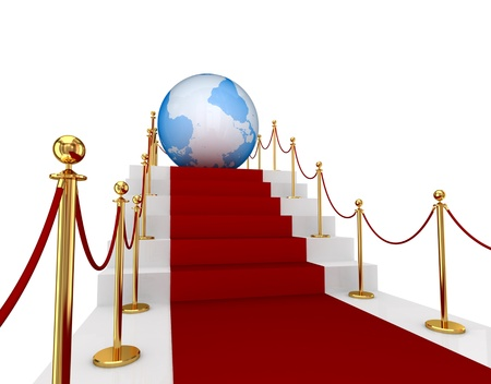 Red carpet on a stairs and Earth. 3d rendered. Isolated on white background. Stock Photo - 12219558