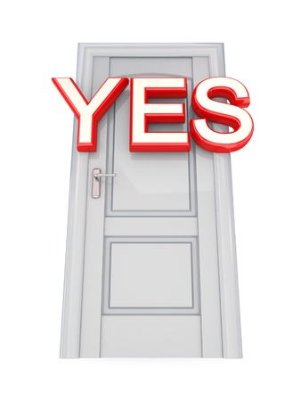 White door with a red word YES. 3d rendered. Isolated on white background. photo